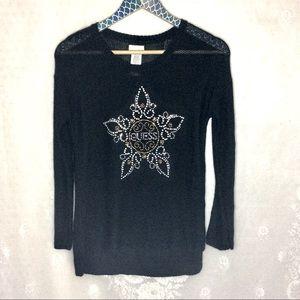 Guess Studded Snowflake Black Sweater Girls XL 16